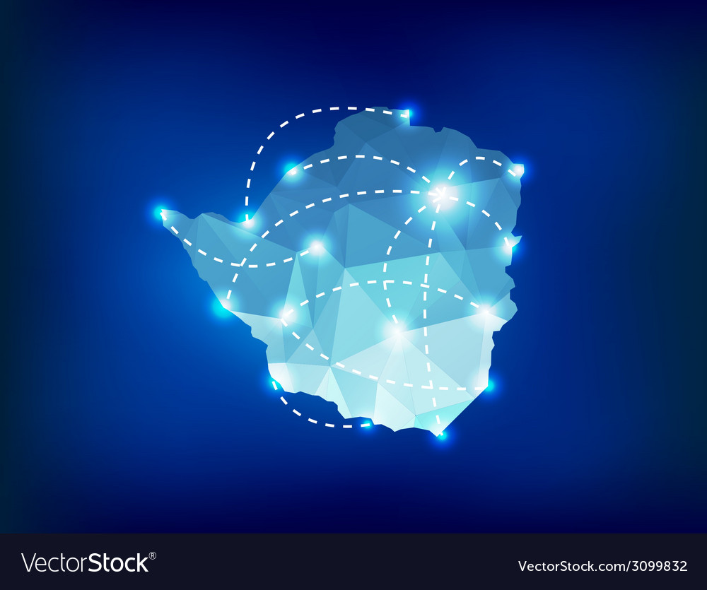 Zimbabwe country map polygonal with spot lights vector | Price: 1 Credit (USD $1)