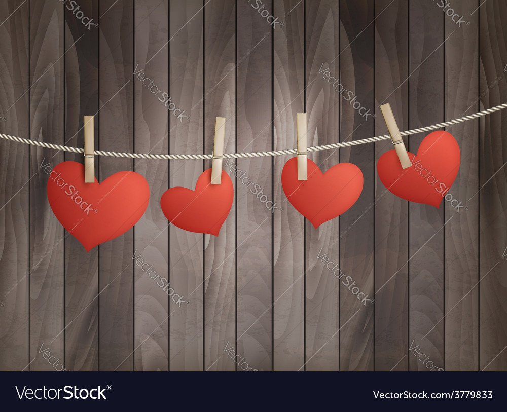 Background with red hearts on wooden texture vector | Price: 3 Credit (USD $3)