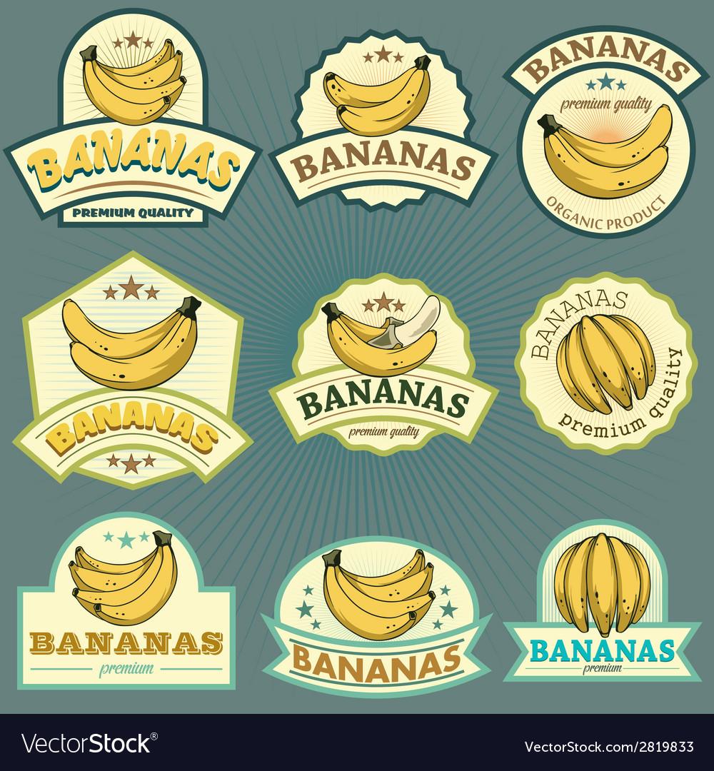 Bananas labels vector   Price: 1 Credit (USD $1)