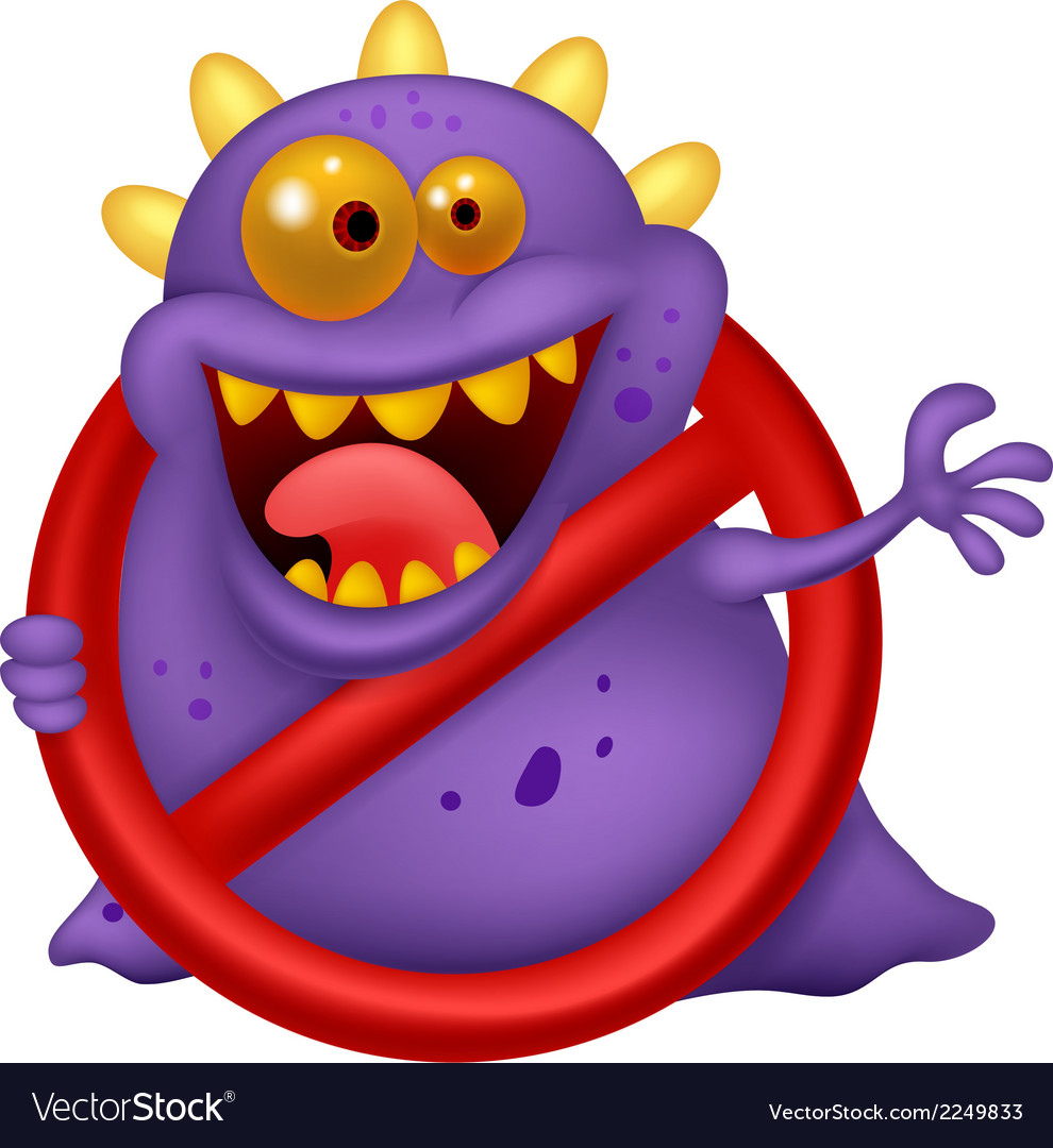 Cartoon stop virus - purple virus in red alert sig vector | Price: 1 Credit (USD $1)