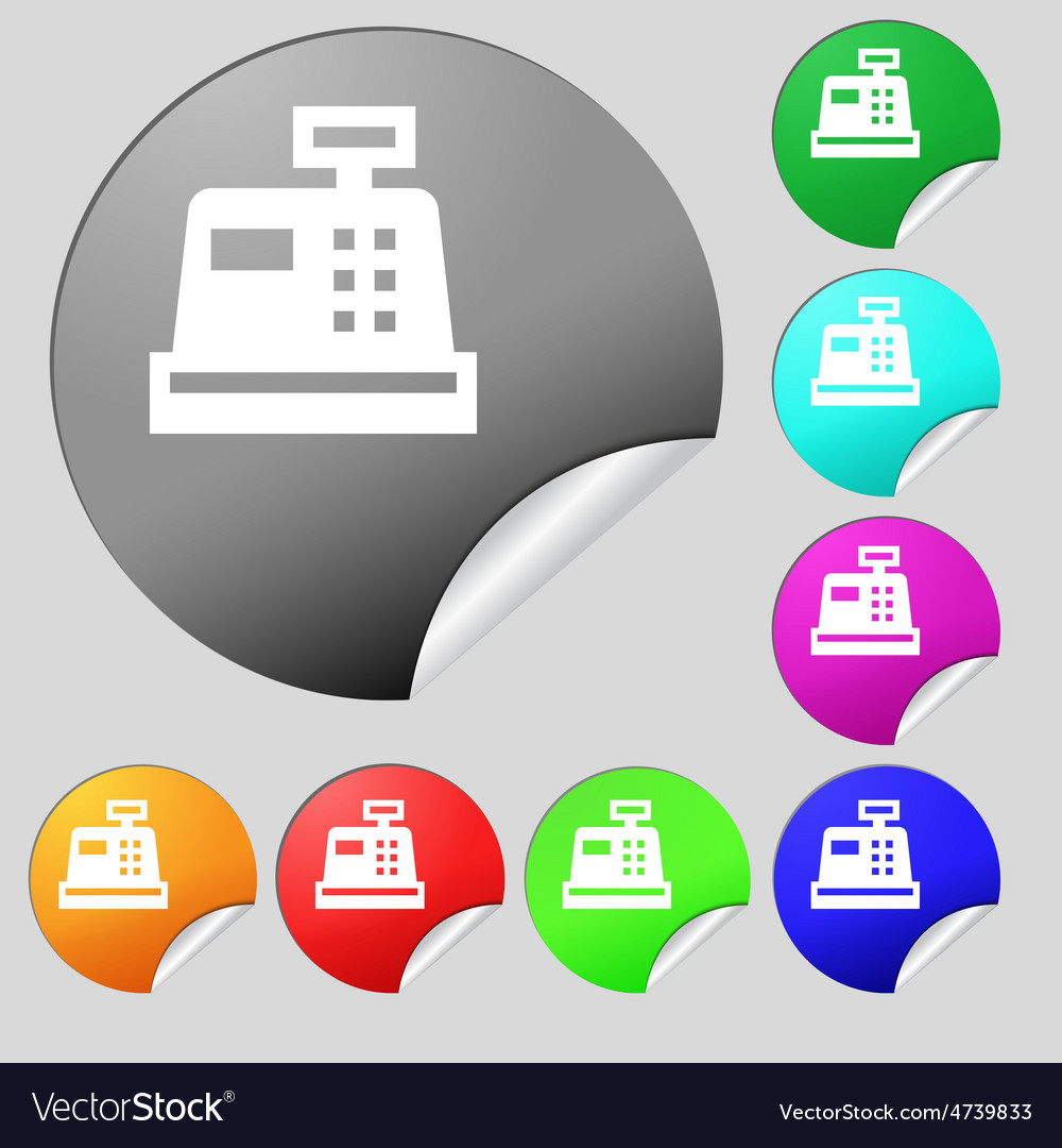 Cash register icon sign set of eight multi-colored vector | Price: 1 Credit (USD $1)
