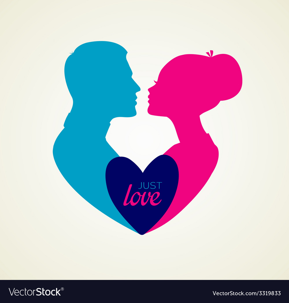 Couples silhouette kissing image vector | Price: 1 Credit (USD $1)