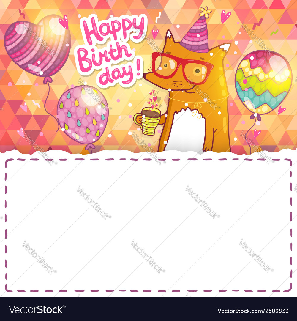Happy birthday card with hipster fox vector | Price: 1 Credit (USD $1)