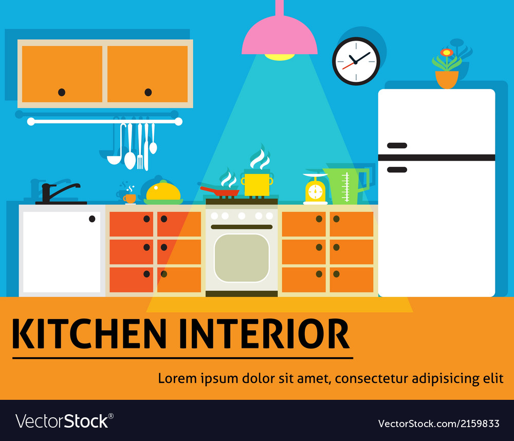 Kitchen interior poster vector | Price: 1 Credit (USD $1)