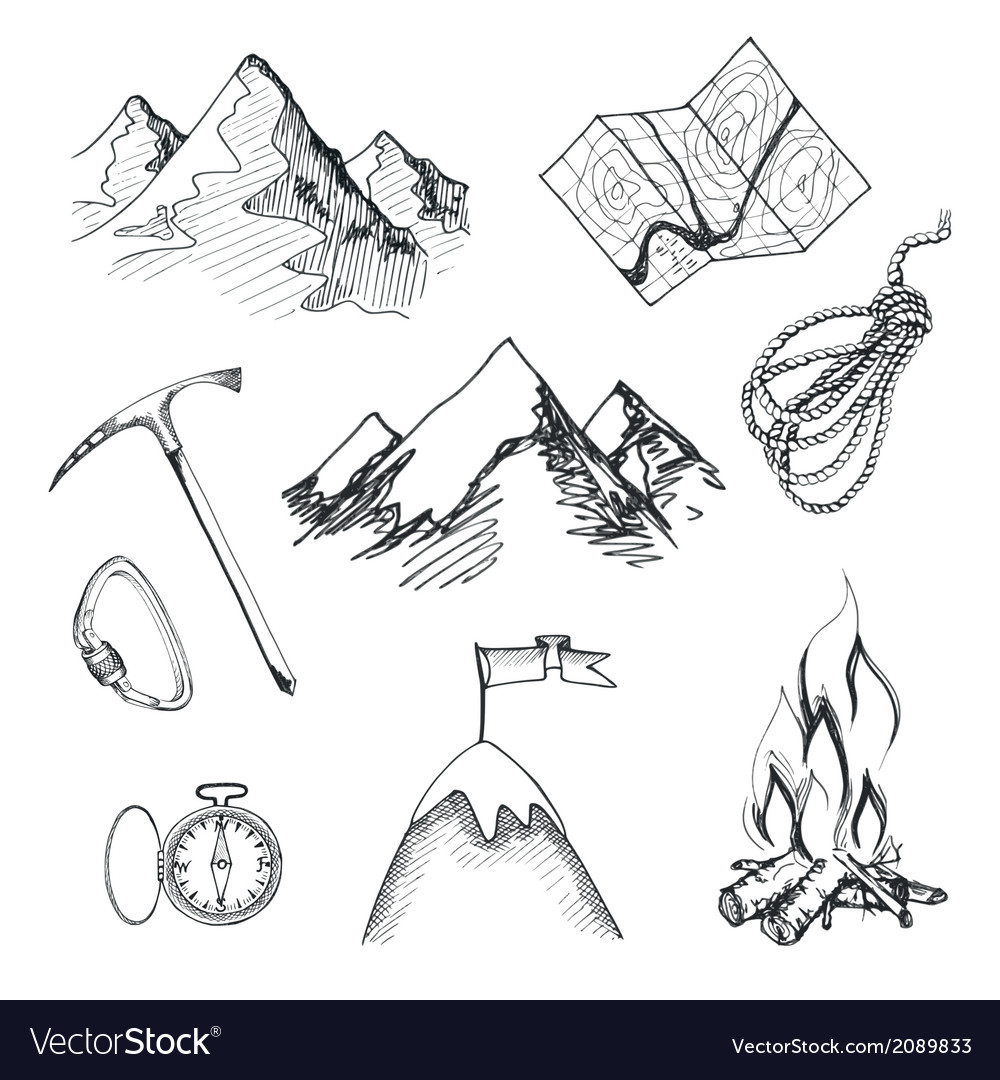 Mountain climbing camping icons vector | Price: 3 Credit (USD $3)