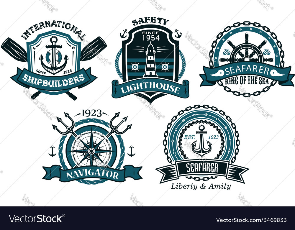 Nautical badges and emblems set in heraldic style vector | Price: 1 Credit (USD $1)