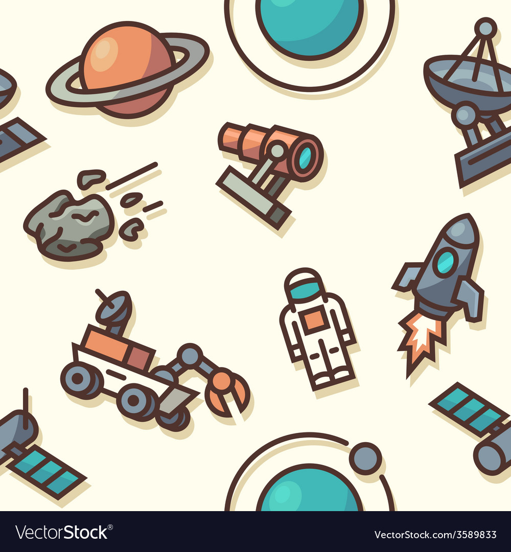 Seamless pattern with space icons vector | Price: 1 Credit (USD $1)
