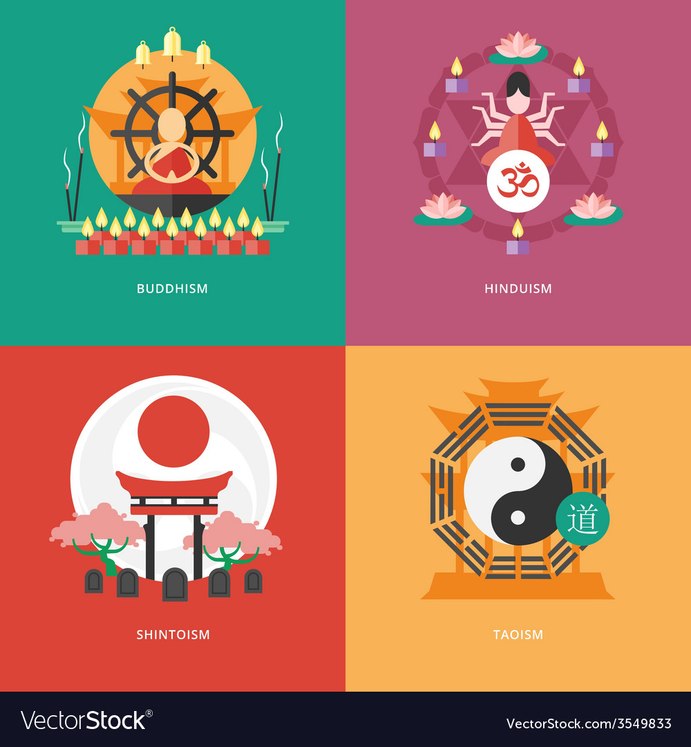 Set of flat design concept icons for religions and vector | Price: 1 Credit (USD $1)