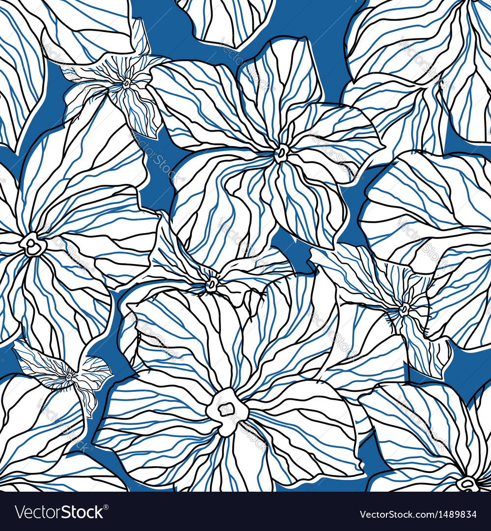 Abstract blue floral seamless pattern vector | Price: 1 Credit (USD $1)