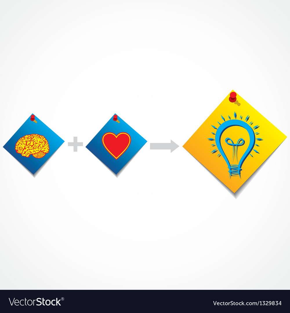 Addition of brain and heart create new idea vector   Price: 1 Credit (USD $1)