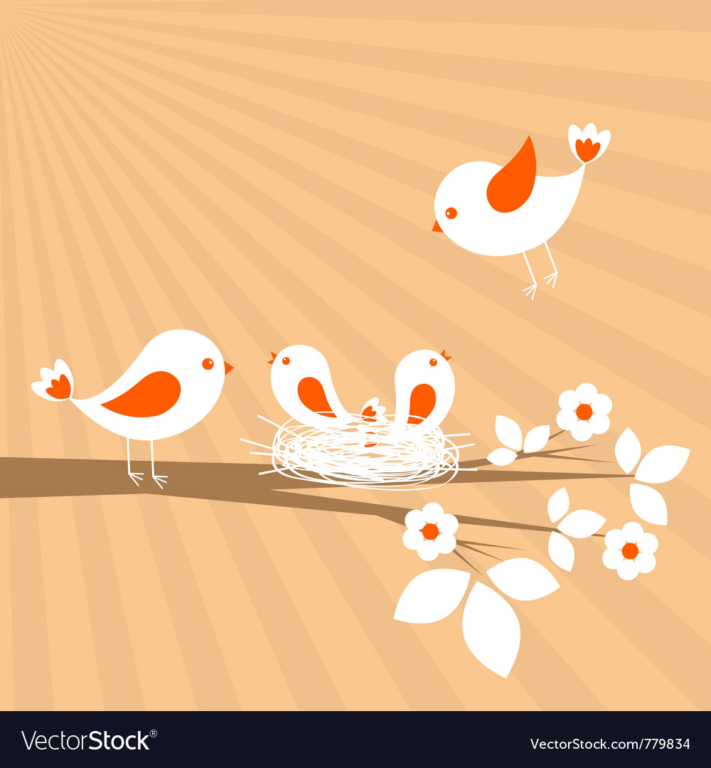 Birds family spring card vector | Price: 1 Credit (USD $1)