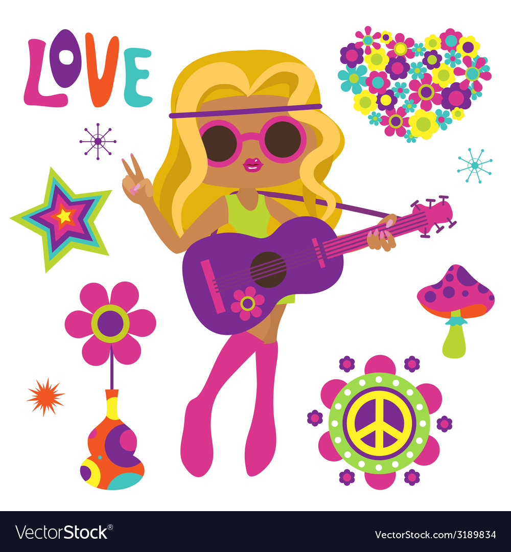 Blonde hippie girl with guitar vector | Price: 1 Credit (USD $1)