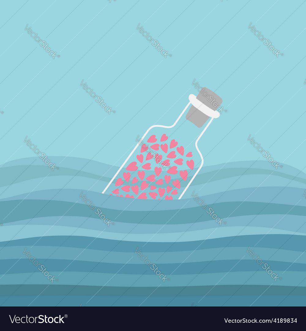 Bottle with hearts inside in the ocean sea water vector