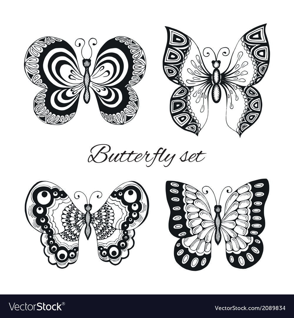 Butterflies decorative icons set vector | Price: 1 Credit (USD $1)