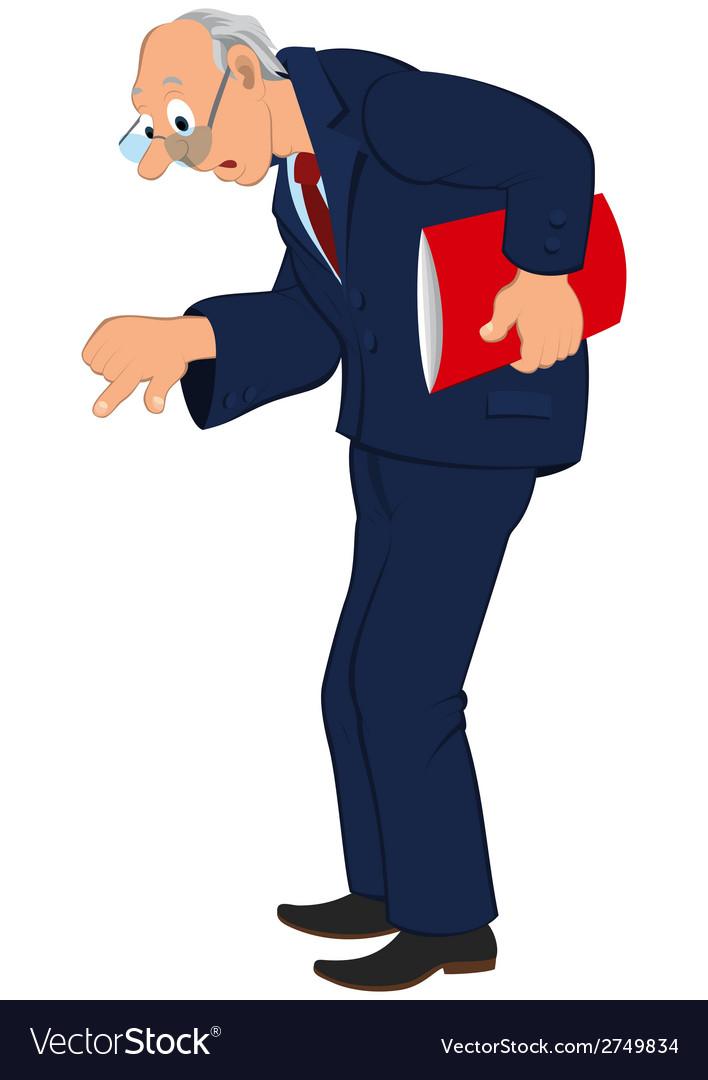 Cartoon old man in blue jacket and tie looking vector | Price: 1 Credit (USD $1)