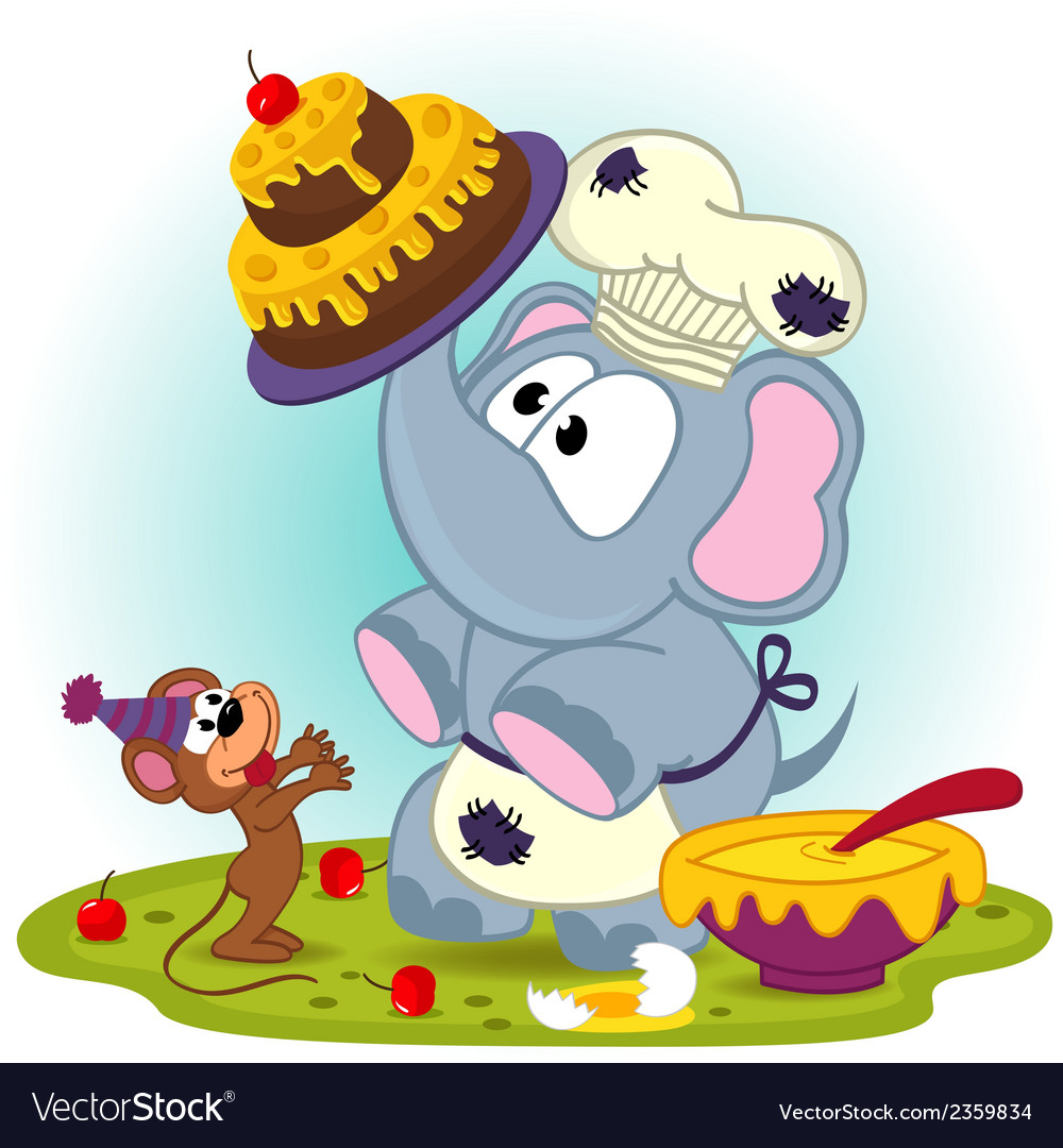 Elephant chef prepare cake for mouse vector | Price: 1 Credit (USD $1)