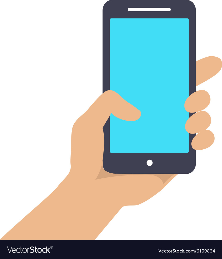 Hand holding smart phone showing screen isolated vector | Price: 1 Credit (USD $1)