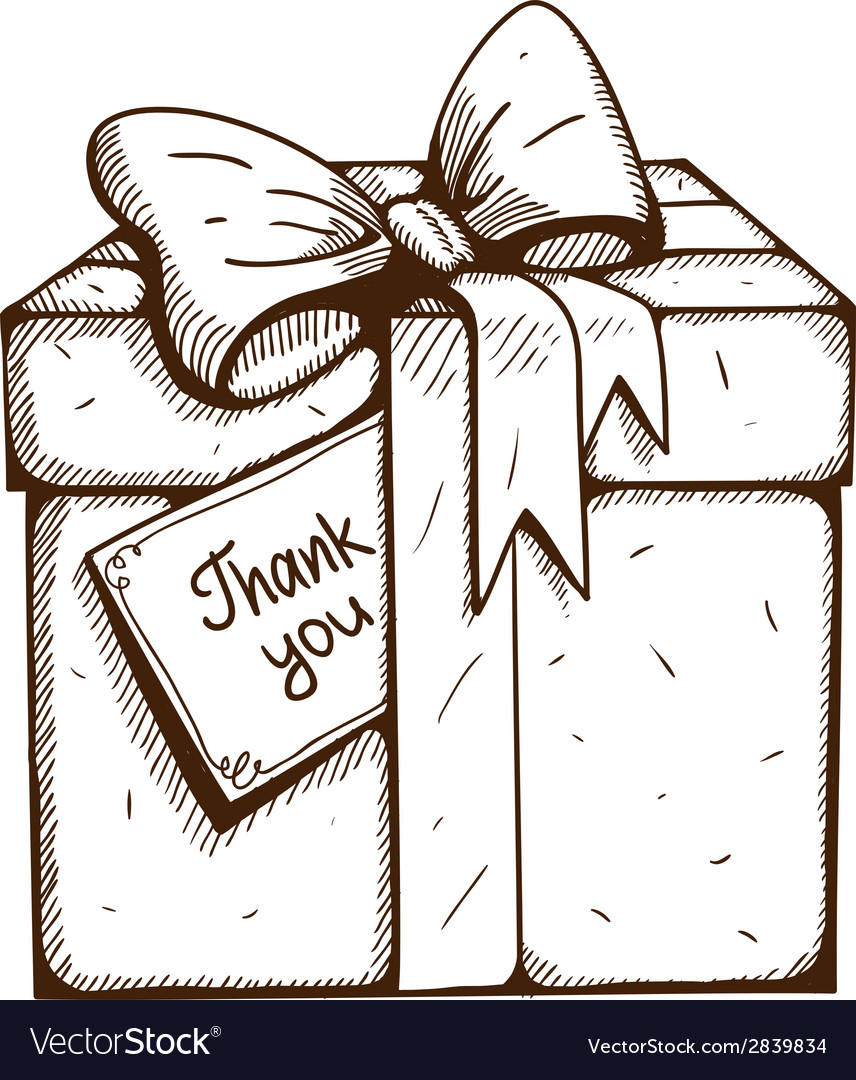 Present box with thank you text vector | Price: 1 Credit (USD $1)