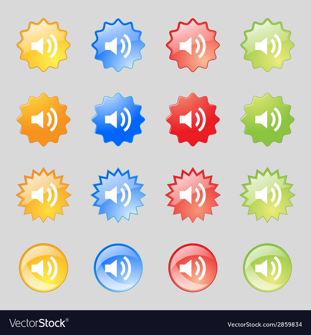 Speaker volume sign icon sound symbol set vector | Price: 1 Credit (USD $1)