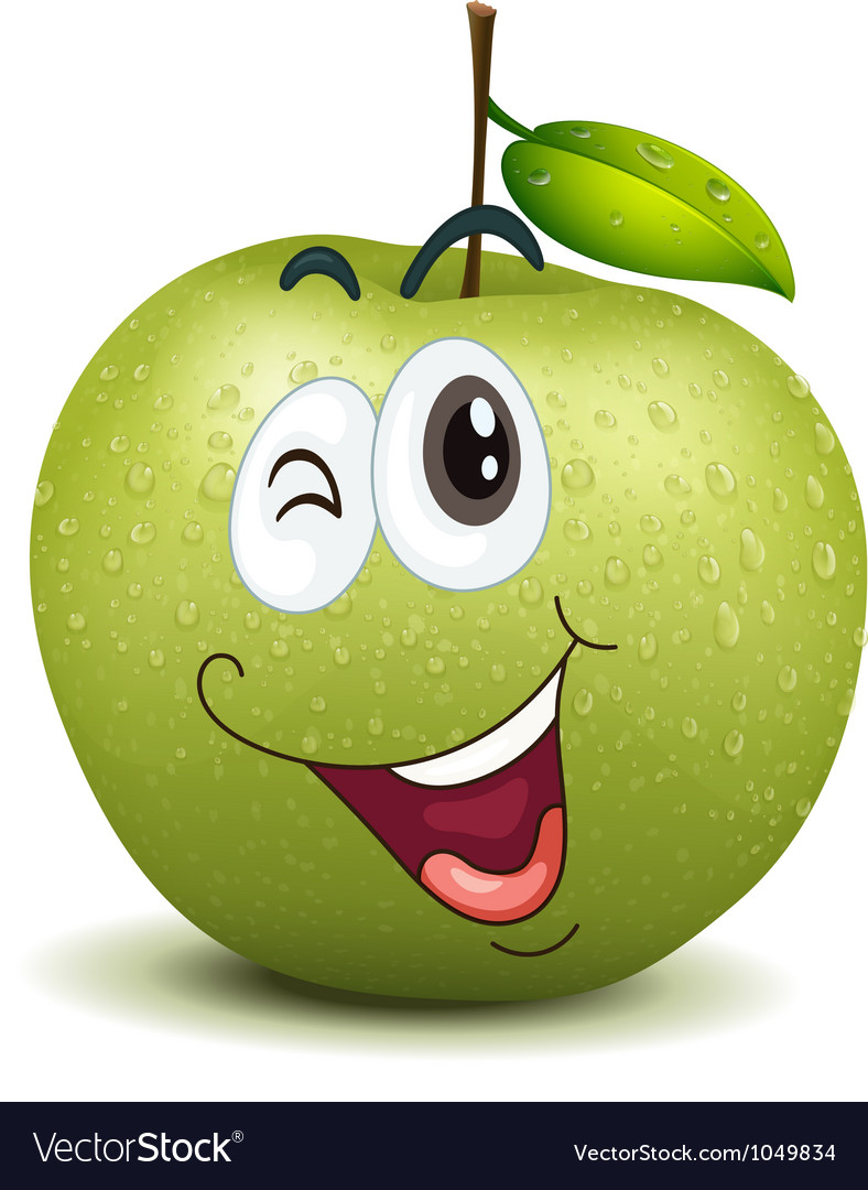 Winking apple smiley vector | Price: 1 Credit (USD $1)