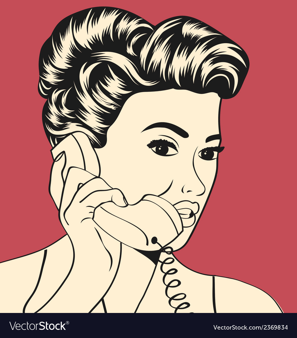 Woman chatting on the phone vector | Price: 1 Credit (USD $1)