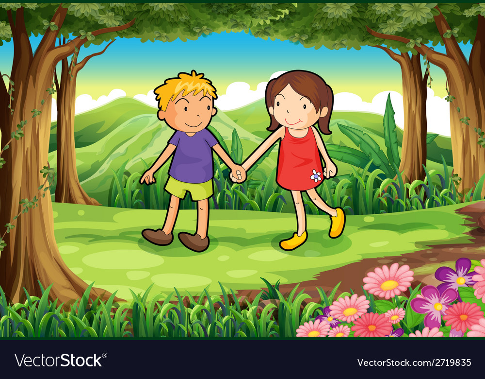 A girl and a boy at the forest vector | Price: 1 Credit (USD $1)