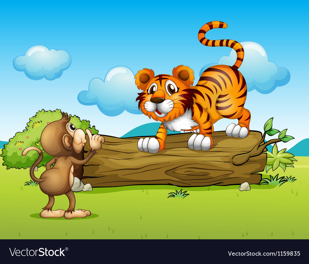 A monkey and a tiger vector | Price: 1 Credit (USD $1)