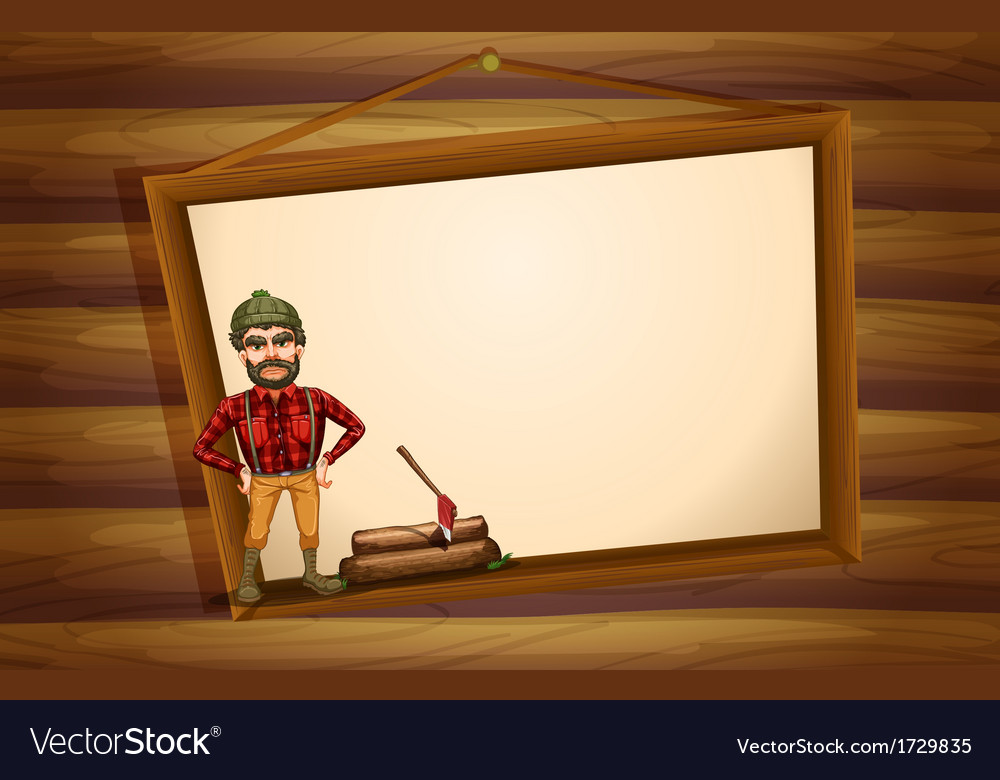 A woodman standing in front of the hanging empty vector | Price: 1 Credit (USD $1)