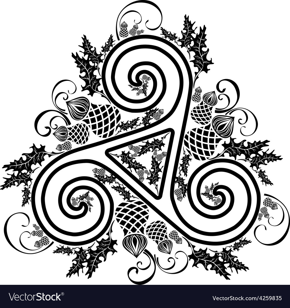 Black and white image celtic triad with flowers of vector | Price: 1 Credit (USD $1)