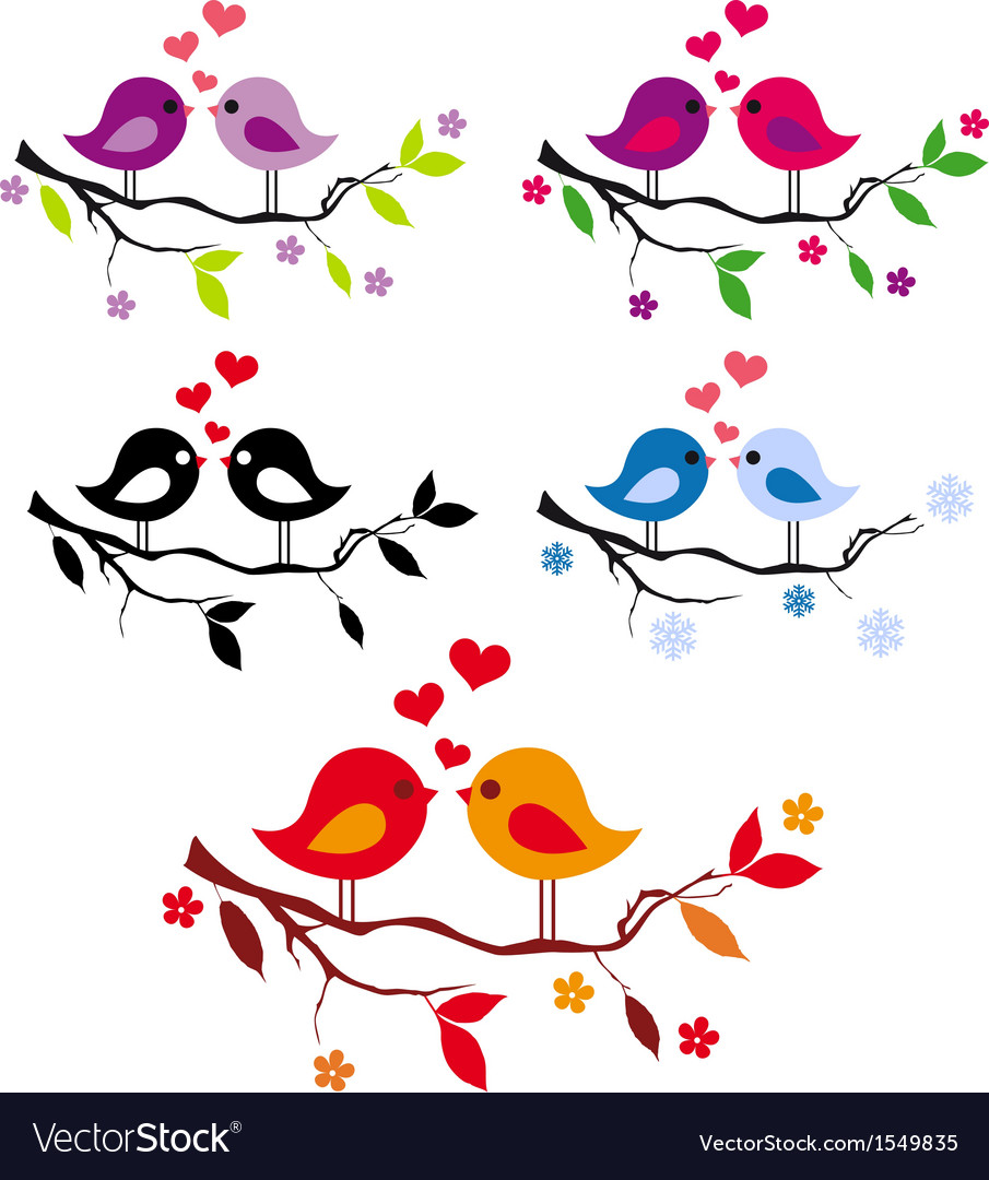 Cute birds with red hearts on tree set vector | Price: 1 Credit (USD $1)