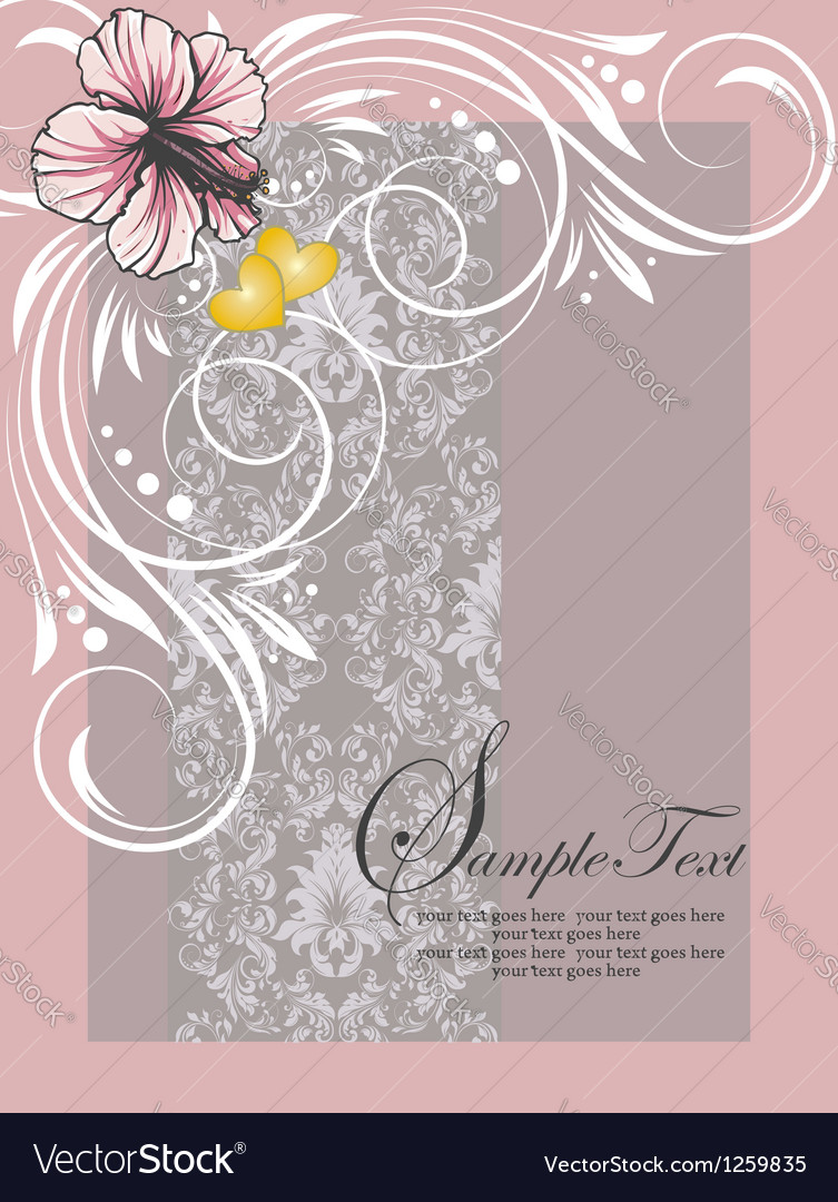 Damask shower invitation card vector | Price: 1 Credit (USD $1)