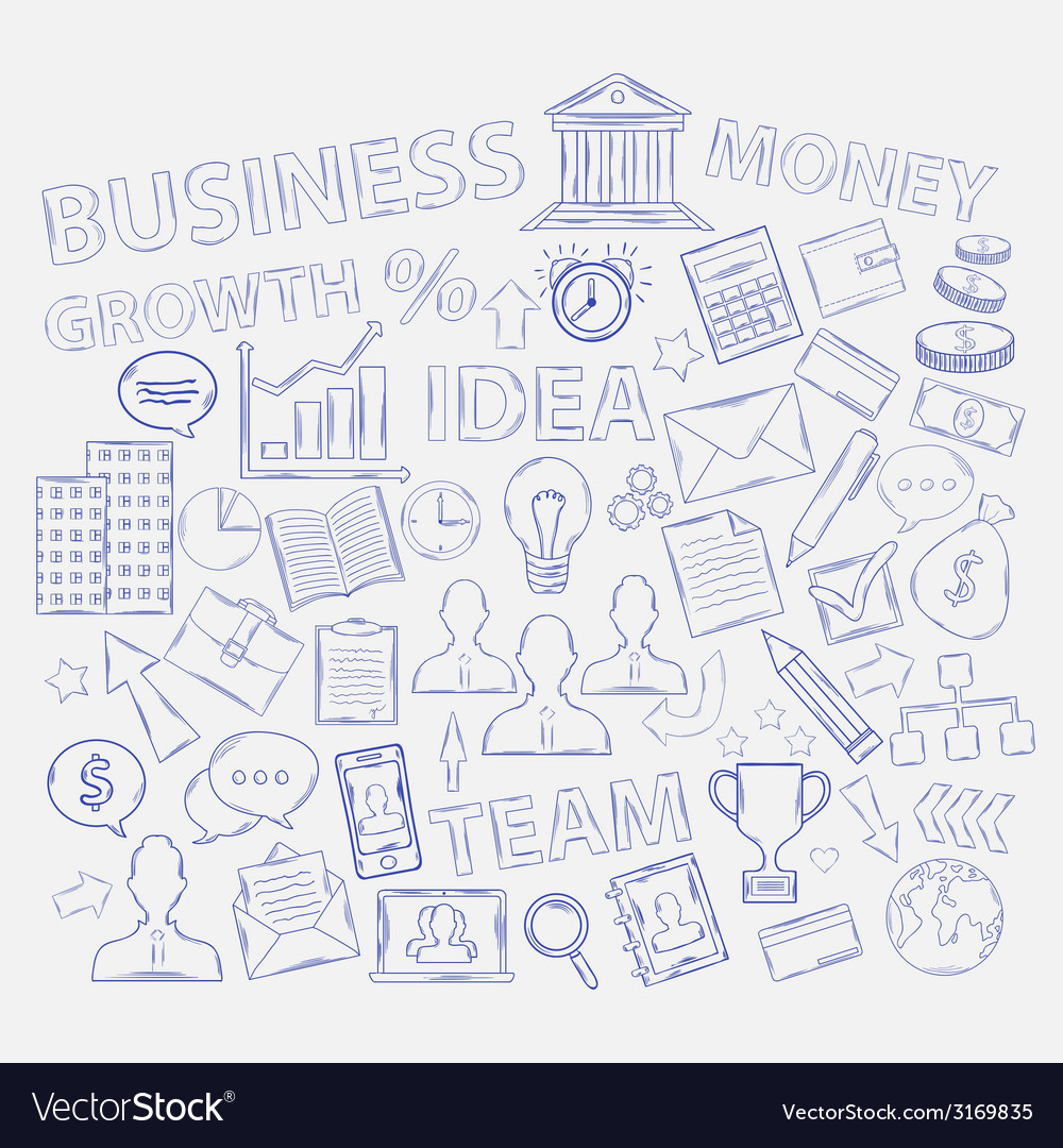 Doodle business icons vector | Price: 1 Credit (USD $1)
