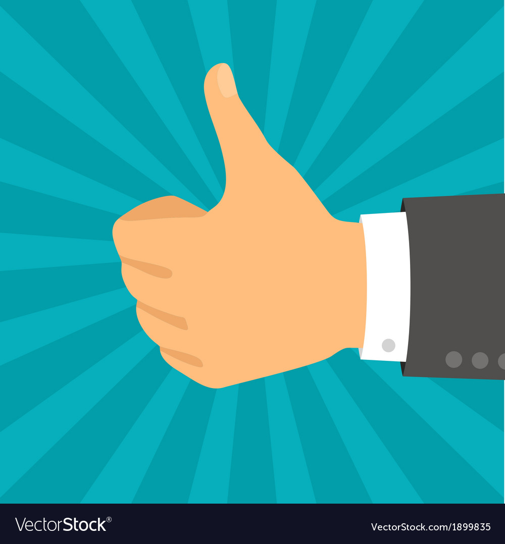 Hand with thumb in flat design style vector | Price: 1 Credit (USD $1)