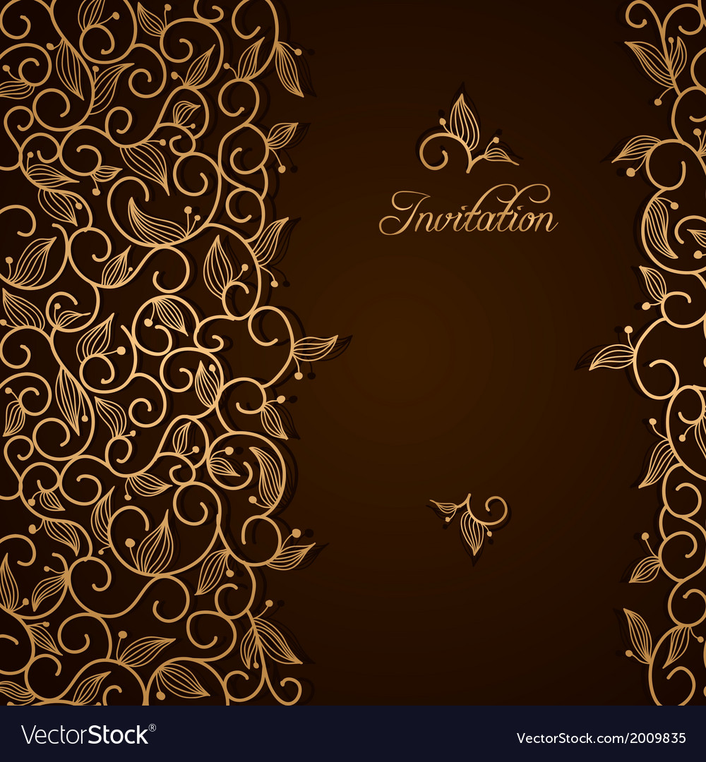 Invitation with gold lace floral ornament vector | Price: 1 Credit (USD $1)