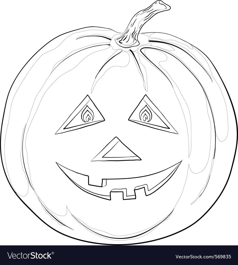 Pumpkin jack o lantern contours vector | Price: 1 Credit (USD $1)