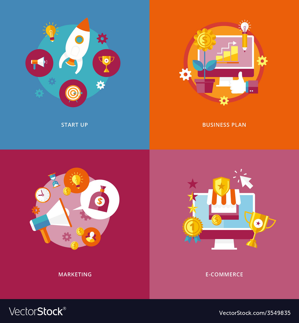 Set of flat design concept icons for business and vector | Price: 1 Credit (USD $1)
