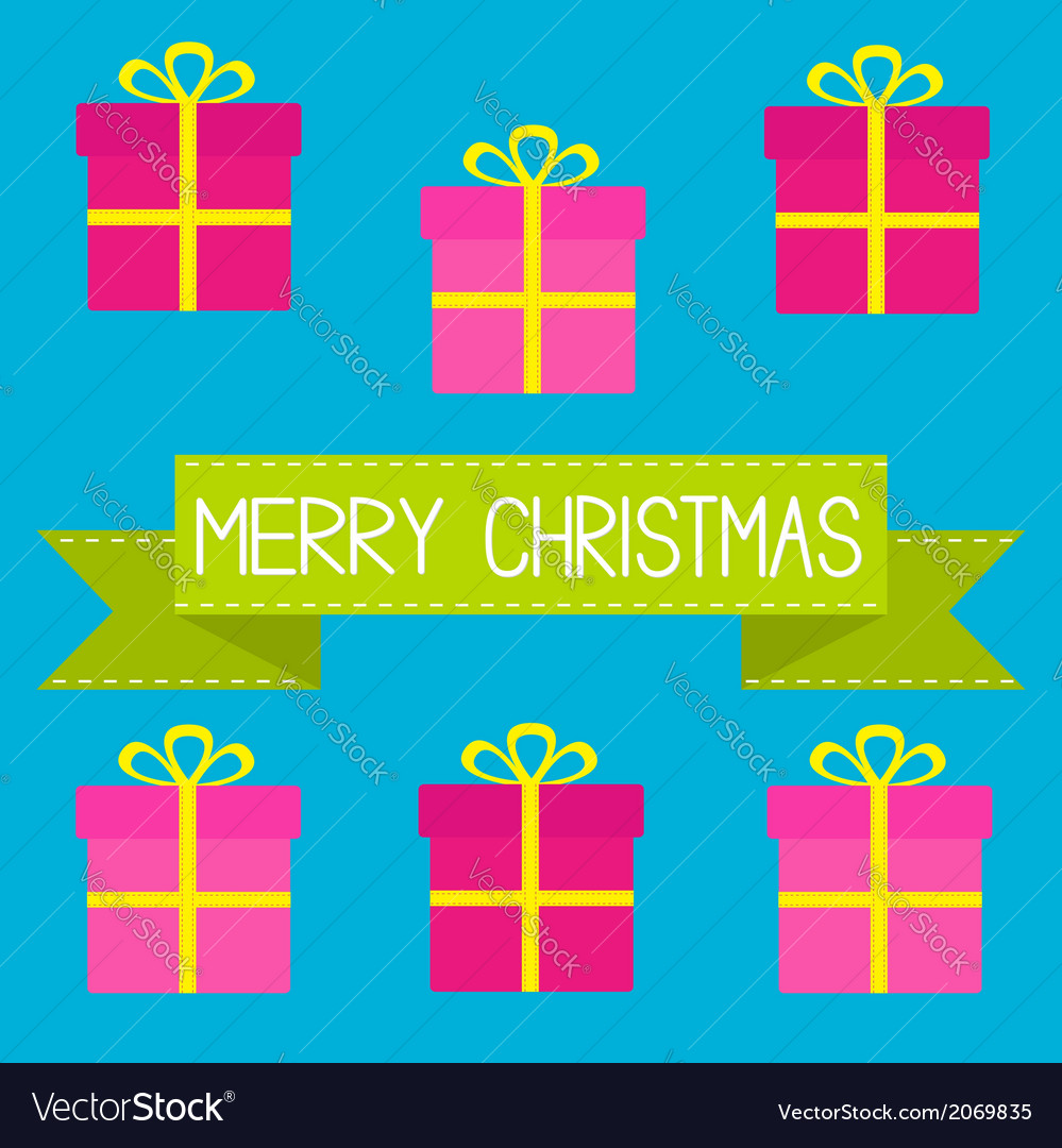 Six gift boxes with ribbons bows merry christmas vector | Price: 1 Credit (USD $1)
