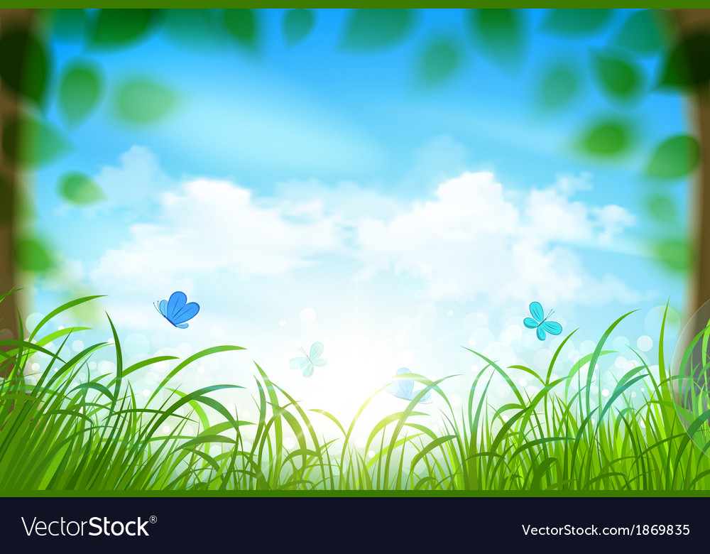 Spring landscape with clouds vector | Price: 3 Credit (USD $3)