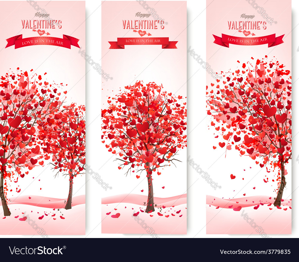 Three holiday banners valentine trees with vector | Price: 3 Credit (USD $3)