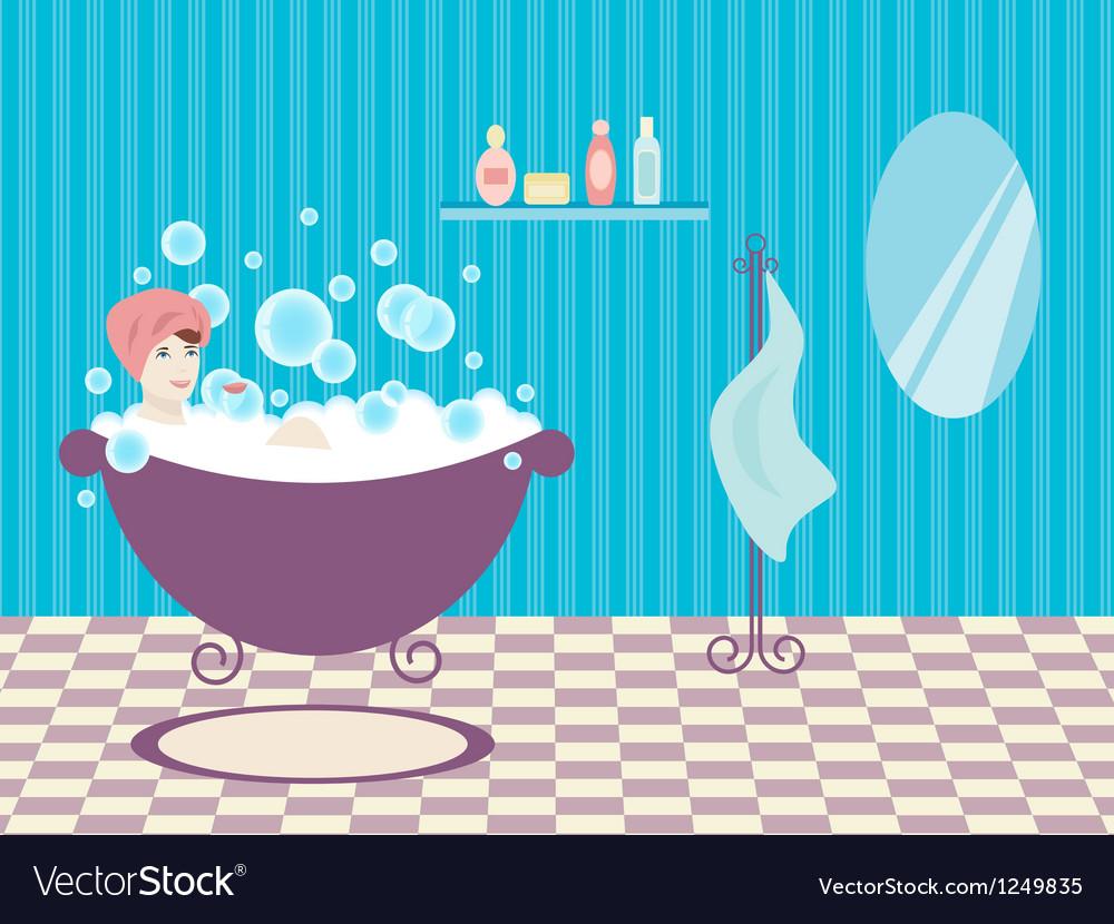 Woman in bath vector | Price: 1 Credit (USD $1)