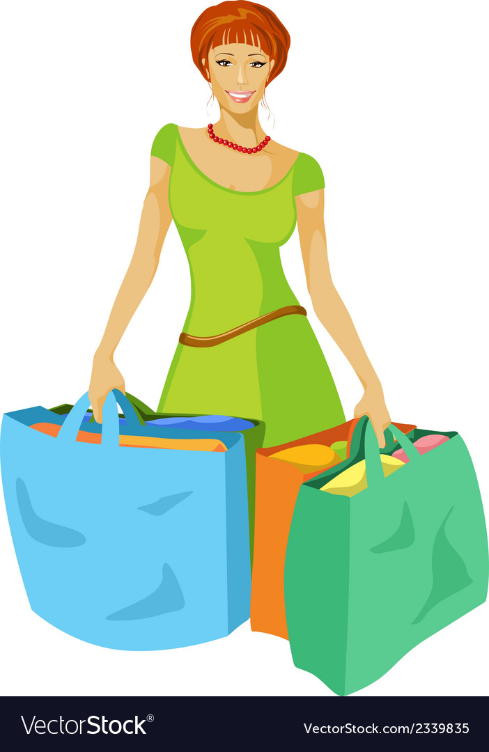 Young woman with shopping bags in hand vector | Price: 1 Credit (USD $1)