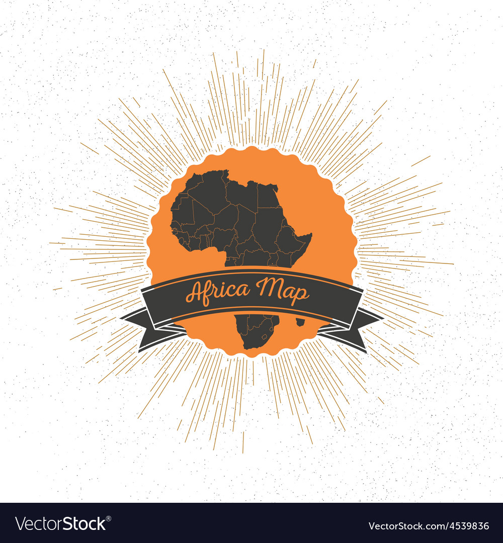 Africa map with vintage style star burst retro vector | Price: 1 Credit (USD $1)
