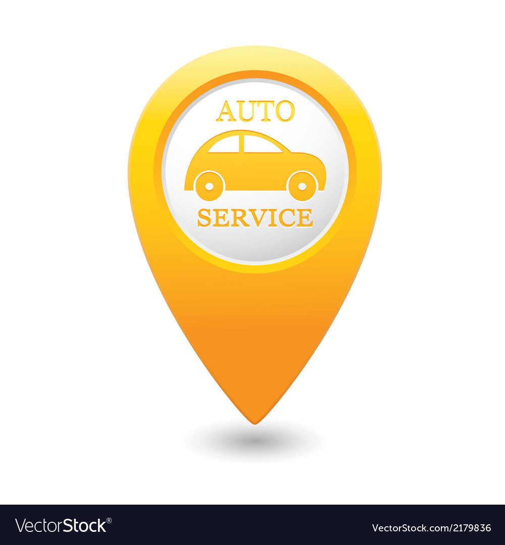 Auto service icon on yellow map pointer vector | Price: 1 Credit (USD $1)
