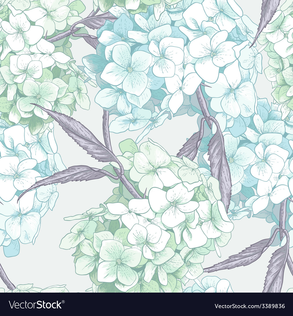Beautiful blue hydrangea seamless background vector