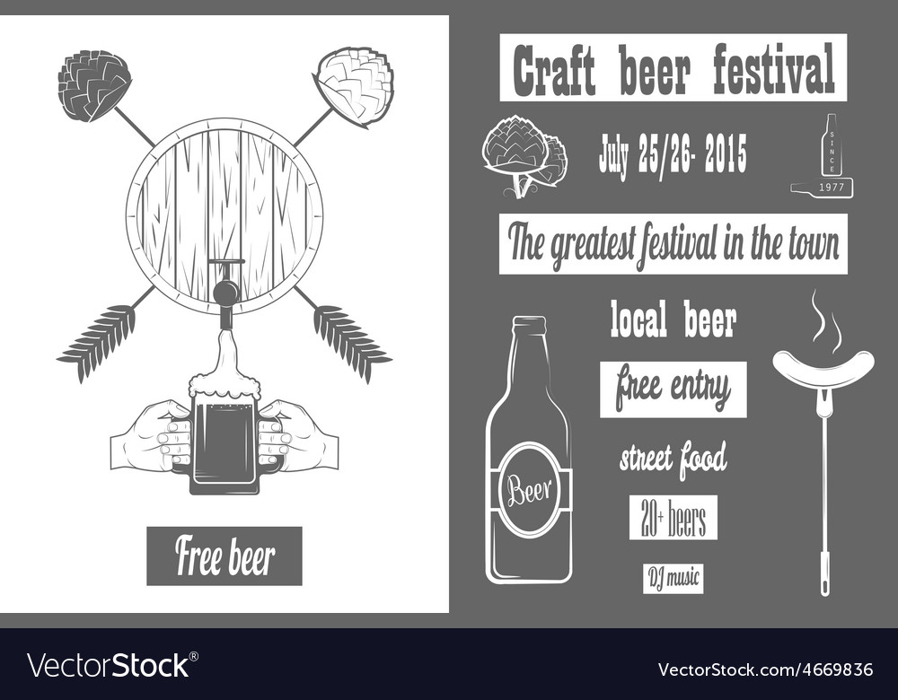 Beer craft fest two-color poster vector | Price: 1 Credit (USD $1)