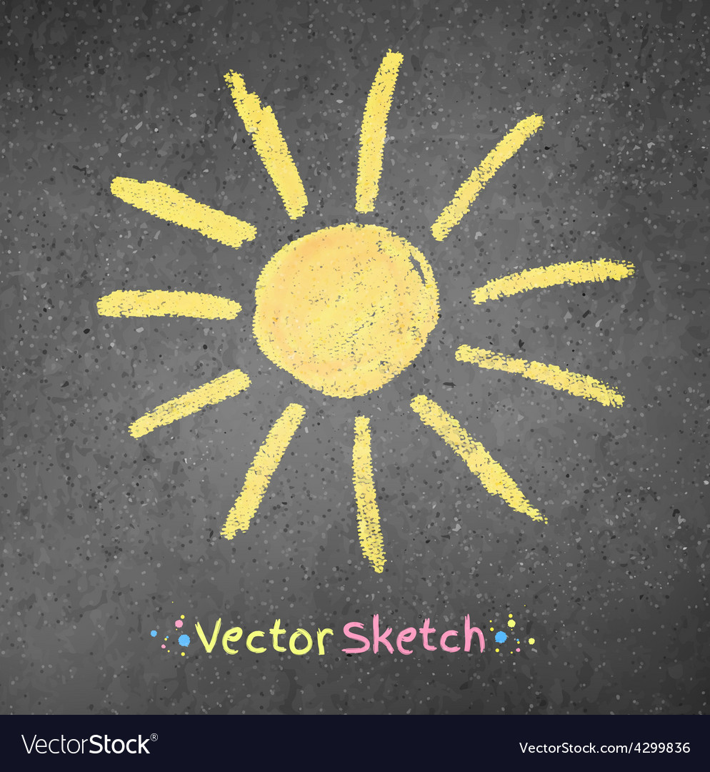 Chalk drawing of sun vector | Price: 1 Credit (USD $1)