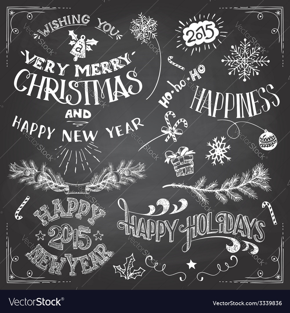 Christmas and new years elements set vector | Price: 1 Credit (USD $1)