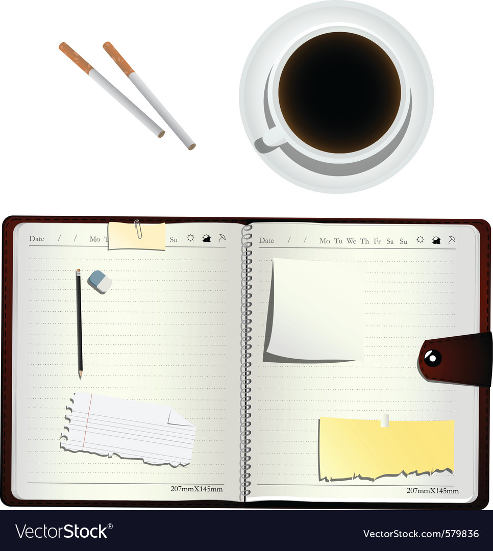 Coffee cigarettes and planner vector | Price: 1 Credit (USD $1)