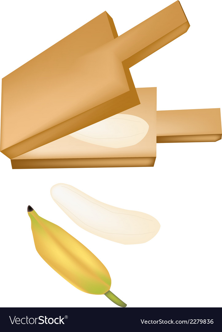 Delicious ripe bananas in a wooden press vector | Price: 1 Credit (USD $1)