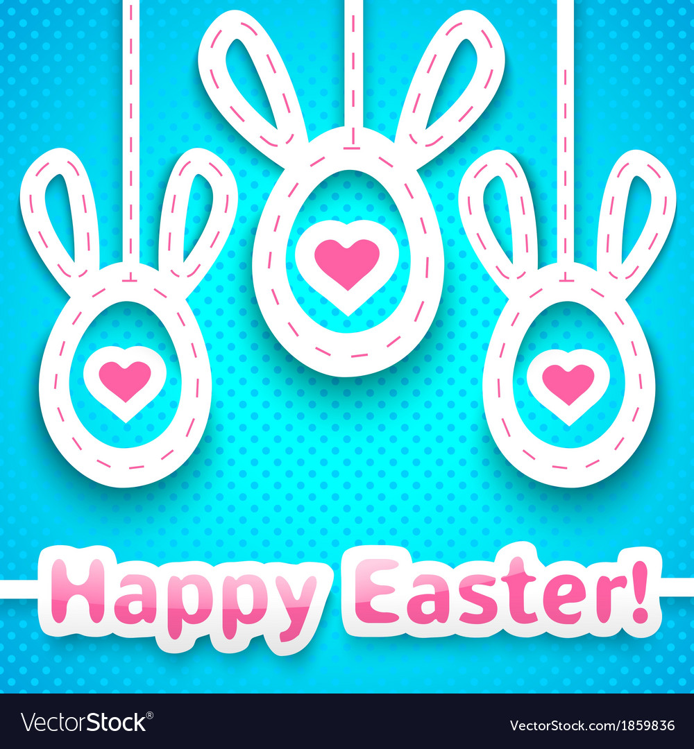 Funny easter card with big-eared eggs vector | Price: 1 Credit (USD $1)